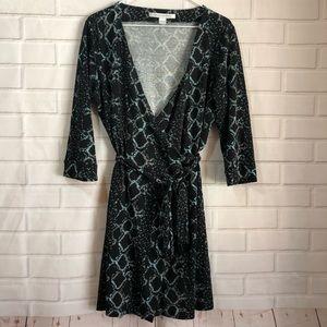 Diane von Furstenberg Black Snakeskin Wrap Dress